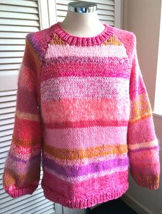 Gorgeous New Hand Knitted Ladies Jumper by Annabel Burton #Handmade #Jumper Hand Knitted Sweaters, Jumpers For Women, Hand Knitting, Hands, Pullover, Wool, Pink, Handmade, Ebay