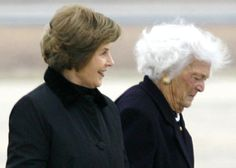 Former First Ladies Barbara Bush and Laura Bush