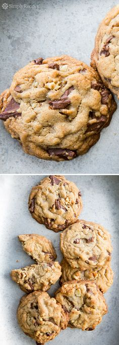 Browned Butter Chocolate Chunk Cookies ~ Best chocolate chunk cookies ever! These are seriously good. With chunks of milk chocolate and the over the top deliciousness of browned butter in the dough. Yum! On SimplyRecipes.com
