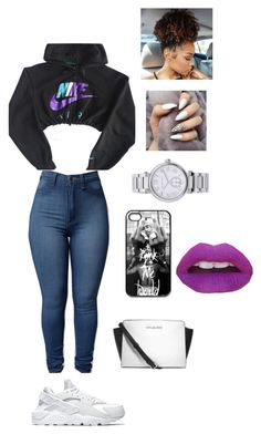 """NIKE"" by cloutqueex on Polyvore featuring NIKE, MICHAEL Michael Kors, Michael Kors and Haze"