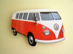Volkswagen VW Camper Van Orange Wall Clock Split Screen | eBay
