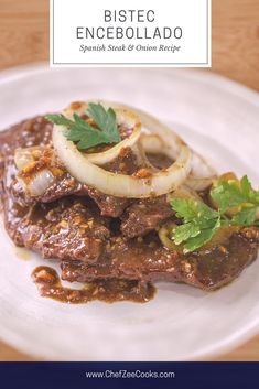Bistec Encebollado is an amazing yet easy Spanish Style Steak and Onions! This popular Latin Steak Dish goes great with Spanish Rice & Beans! Dinner will never be the same after you try this authentic Bistec Recipe! Beef Steak Recipes, Onion Recipes, Meat Recipes, Mexican Food Recipes, Cooking Recipes, Spanish Food Recipes, Greek Recipes, Bistec Recipe, Bistec Encebollado Recipe