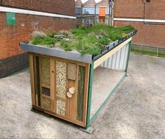 Greenroofshelters - A new endeavour - Dusty Gedge's Roofs & Rambles - recycling containers Garden Bike Storage, Outdoor Storage, Bin Shed, Bike Shelter, Sedum Roof, Vertical Garden Design, Vertical Gardens, Recycling Containers, Outdoor Furniture Sets