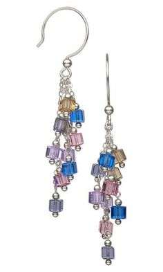 Jewelry Design - Earrings with Swarovski Crystal Beads and Sterling Silver Beads and Chain - Fire Mountain Gems and Beads