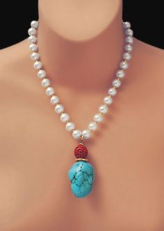 PEARLS, Turquoise Howlite & Cinnabar with Free Earrings and Free US Shipping! -by TonyArmato, $98.00