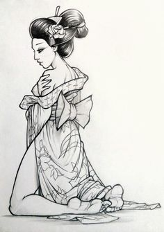 Geisha Pin up Geisha Tattoos, Geisha Tattoo Design, Pin Up Tattoos, Trendy Tattoos, Girl Tattoos, Geisha Kunst, Geisha Art, Japanese Drawings, Japanese Art