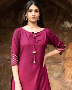 Wine straight kurta set with dupatta by Empress Pitara Salwar Neck Designs, New Kurti Designs, Churidar Designs, Kurta Neck Design, Neck Designs For Suits, Sleeves Designs For Dresses, Kurta Designs Women, Kurti Designs Party Wear, Simple Kurta Designs
