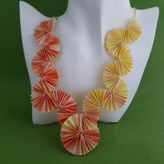 Sunny colours in this new one of a kind origami statement necklace with a rose gold plated chain to finish it off. Comes carefully wrapped in tissue paper in a postal approved large letter box. with free UK p&p. International shipping also available. Origami Necklace, Origami Jewelry, Paper Jewelry, Boho Jewelry, Beaded Jewelry, Beaded Bracelets, Unique Jewelry, Jewellery, Jewelry Ideas