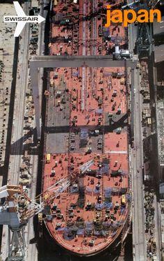 Swissair, Nagasaki Japan, Giant oil tanker construction