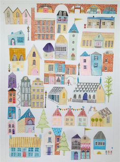 Home Sweet Home  A4/A3 Quirky Nursery/Childs Town by LouiseThrop, £15.00