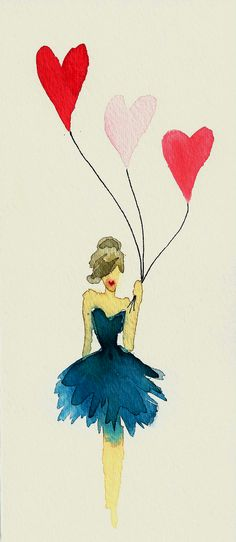 Girl with Balloons Sketch print by Carol Hannah