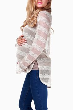 Beige-Striped-Sparkle-Maternity-Sweater