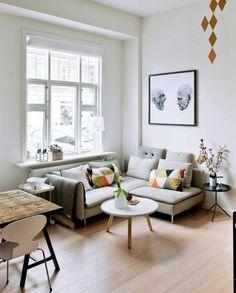 kleines wohnzimmer mit essbereich einrichten scandi style