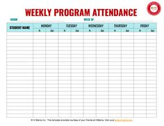 Daycare Sign In Sheet Template, Weekly (M-F)