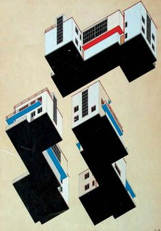 colour plans for the bauhaus masters' houses in dessau by alfred arndt, 1926 ink and tempera on paper, image courtesy bauhaus archive berlin