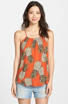 Free shipping and returns on Lucky Brand Pineapple Print Tank at Nordstrom.com. Evoking a sweet taste of the tropics, a vivid pineapple print colors a tank in a slubbed linen-blend knit with the front and back gathered to a thin neck strap.