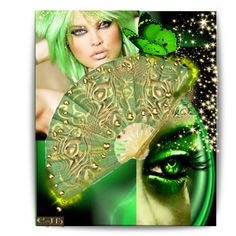 """""""Decorate a Fan - Golden & Green Theme"""" by enchanting-muse on Polyvore"""