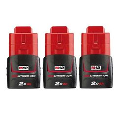 Replacement 2000mAh Battery for Milwaukee 2277-21NST / 2446-20 / C12 DD Power Tools (3 Pk)
