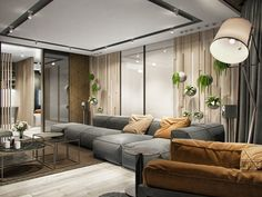 http://boomzer.com/modern-kiev-home-construct-creative-and-natural-stuff/gray-suede-sofa-brown-suede-sofa-glass-coffe-table-chevron-rug-area-mini-ceiling-spotlights-wood-paneling-glass-wall-standing-lamp-light-wood-flooring-white-flowers-in-glass-vase/