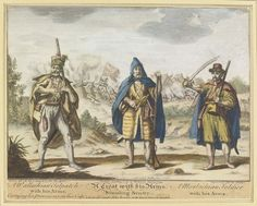 Engraving - A Wallachian Tolpatch with his Arms. A Croat with his Arms, Standing Sentry. A Morlachian Soldier with his Arms. Seven Years' War, Austro Hungarian, Ottoman Empire, Modern Warfare, Historical Costume, Eastern Europe, Banner, Renaissance, Medieval