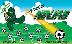 Ninjas-Green-40289 digitally printed vinyl soccer sports team banner. Made in the USA and shipped fast by BannersUSA. www.bannersusa.com