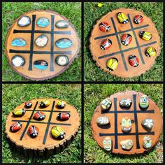 Tic-Tac-Toe Custom Hand Painted Rocks Hand painted and sealed set of 10 rocks 5 per side. Board is Rock Crafts, Diy And Crafts, Crafts For Kids, Garden Crafts, Diy Garden Decor, Tic Tac Toe Game, Painted Rocks Kids, Rock Painting Ideas Easy, Backyard Games