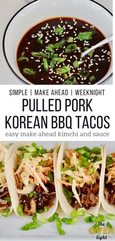 Korean BBQ Tacos with Quick Kimchi and Pulled Pork. Make Ahead Friendly! Simple recipe with deliciously sweet Korean flavor and amazingly quick kimchi style slaw. So incredible! Pork Recipes, Asian Recipes, Mexican Food Recipes, Dinner Recipes, Cooking Recipes, Healthy Recipes, Healthy Food, Grilling Recipes, Vegetarian Grilling