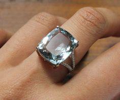 4 Carat Aquamarine Engagement Ring, Diamonds, 14K White Gold. $1,295.00, via Etsy.