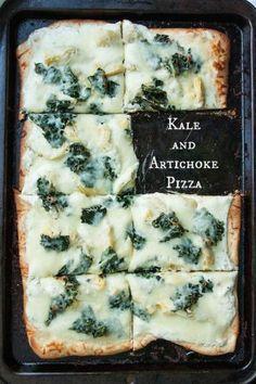 Kale and Artichoke Pizza with Roasted Garlic Ricotta | TheCornerKitchenBlog.com