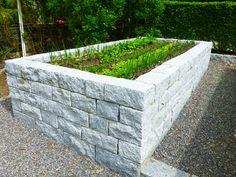Horta com canteiro elevado feito de pedras.