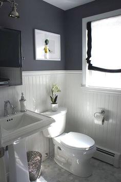 Beadboard paneling in a grey bathroom | Bathroom Wainscoting: Beadboard Panels in the Bathroom Design | FarmFoodFamily.com