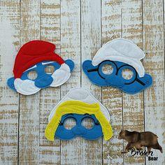 Smurf Inspired masks Blue Girl  Boy  Brainy  Papa Felt
