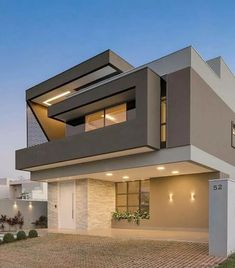 139 new modern exterior design ideas for your house page 10 Contemporary House Plans, Modern House Plans, Contemporary Design, Minimalist House Design, Modern House Design, Modern House Facades, Modern Houses, House Front Design, Property Design