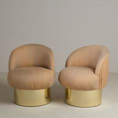 A Pair of Brass Based Tub Upholstered Swivel Chairs 1960s   Talisman