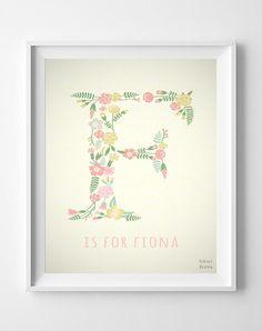 Custom Name Fiona print Francesca Letter F by InkistPrints on Etsy