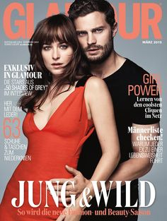 Jamie Dornan and Dakota Johnson on cover of Glamour Magazine. Hello biceps!! Love this pose. I can't decide which cover I like best!! 50 Shades of Christian and Ana