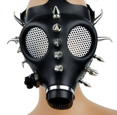 "Authentic Gas Mask Converted 1"" to 2"" inch spikes / Horn Spikes 2 1/2"" Eye Glass replaced with Wire Screen Great for Clubing, Halloween, smoking out or surviving the end of the world! Has 5 Adjustable"