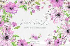 Violet ClipArt Watercolor Flowers Handpainted by froufroucraft