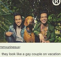 Brendon Urie of Panic! At The Disco and Pete Wentz of Fall Out Boy