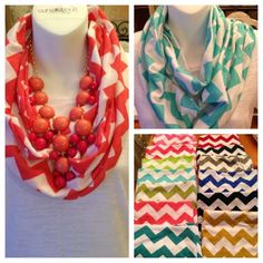 CHEVRON Zig Zag Stripe Jersey Knit Infinity Cowl Scarf Scarves GAME DAY COLORS #Handmade #CowlInfinity