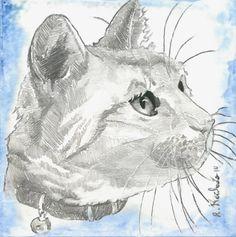 Cat Head I, Watercolors by Ricardo Machado | Artfinder