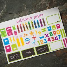 School Sampler Stickers 54 ct for Erin Condren by adrianapiper