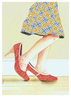 Girl Child Dress Up Cut Paper Red Shoes Plaid Skirt My Mother's Shoes Fashion  - Print of Original Painting Collage by Paper Taxi by papertaxi on Etsy https://www.etsy.com/listing/79700475/girl-child-dress-up-cut-paper-red-shoes