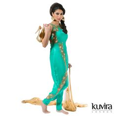 KL-HB15 - Overlap kameez with churidar and dupatta. Customisation options available with a made to measure service! Email info@kuviralondon.com for further information.