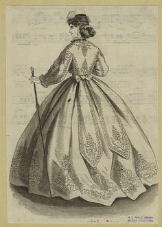 Fashion plate Civil War style. Repeated pattern skirt. 1865