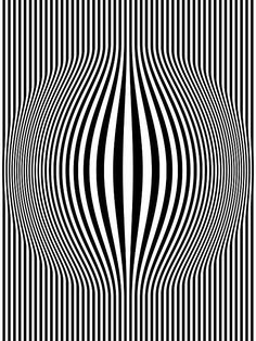 Op Art Bulging Vertical Stripes Black and White One