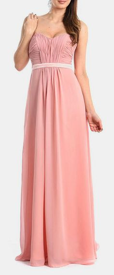 Blush Satin Sash Strapless Gown - maids