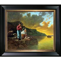 La Pastiche George Caleb Bingham 'Fishing on the Mississippi, Hand Painted Framed Oil Reproduction on Canvas Classic Home Decor, Classic House, Canvas Frame, Canvas Art, Best Canvas, Oil Painting On Canvas, Art Reproductions, Mississippi, Hand Painted
