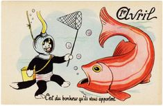 ancienne carte de poisson d'avril