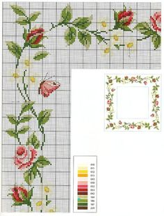 Beautiful cross stitch flowers for tablecloth Cross Stitch Boarders, Cross Stitch Rose, Cross Stitch Flowers, Cross Stitch Charts, Cross Stitch Designs, Cross Stitching, Cross Stitch Embroidery, Embroidery Patterns, Cross Stitch Patterns